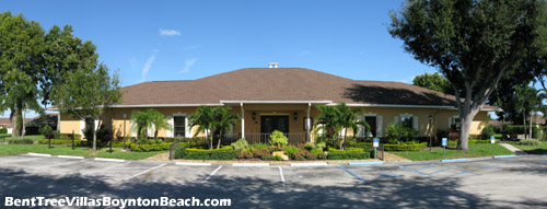 Front view of the clubhouse at Bent Tree Villas East in sunny Boynton Beach, FL. This facility is the social center of the neighborhood.